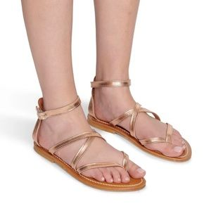 NEW K. Jacques Epicure Gold Strappy Sandals FR 35